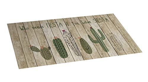 STOR PLANET Alfombra de Vinilo Cactus, 100% PVC reciclable, Estampado, 50 cm x 110 cm