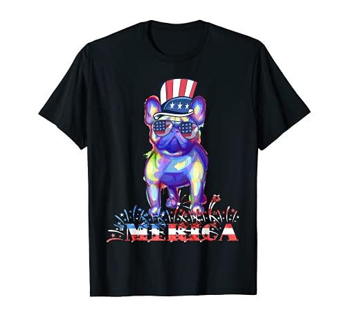 Merica Splash French Bulldog Patriotic Frenchie Dog 4th July T-Shirt