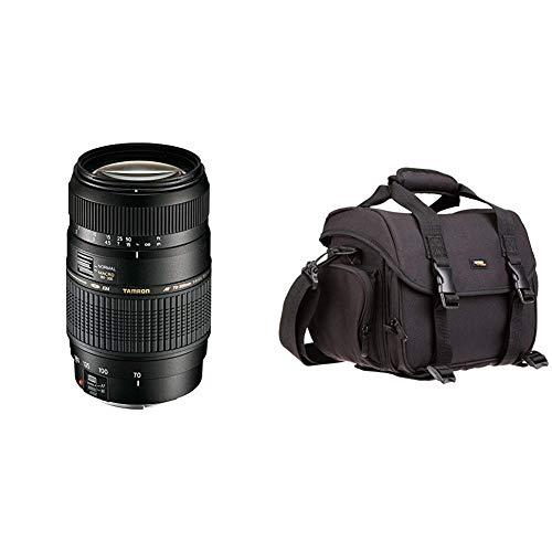 Tamron AF 70-300mm 4-5,6 Di LD Macro 1:2 digitales Objektiv (62mm Filtergewinde) für Canon & AmazonBasics - Große L Umhängetasche für SLR-Kamera und Zubehör, schwarz mit orange Innenausstattung