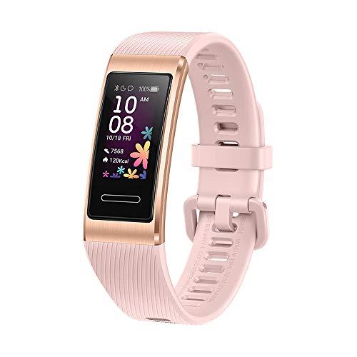 Huawei Band 4 Pro Fitness-Aktivitätstracker (All-in-One Smart Armband, Herzfrequenz- und Schlafüberwachung, eingebautes GPS, farbenreiches Touch Display, 5 ATM wasserfest) gold mit rosa Armband