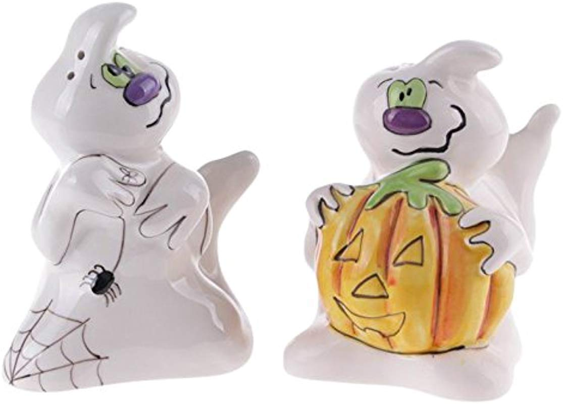 Blue Sky Ceramic 5 25 X 3 25 X 4 Spooky Halloween Ghost Salt And Pepper Shaker Set