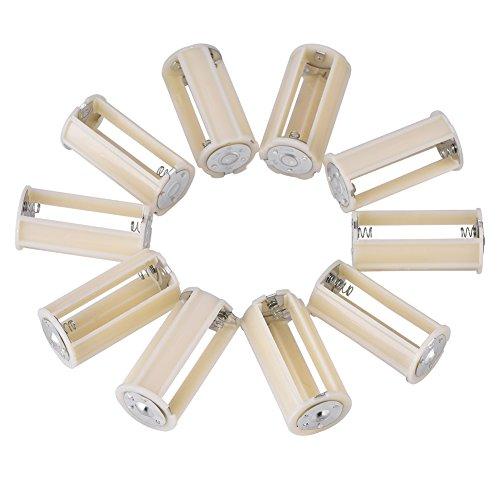 Mugast 10pcs AA auf D Batterie Adapter,10 Stücke Universal AA zu D Größe Parallel Adapter Batteriehalter,Tragbar 3 AA in 1 D Battery Konverter Adapter Box für Elektronik-/Notfallsituationen