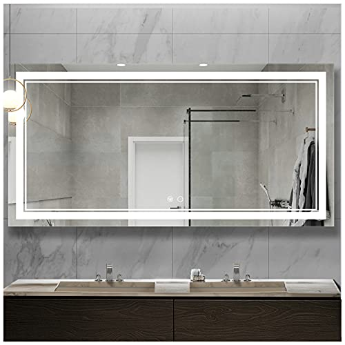 Keonjinn 60 x 28 Inch Bathroom LED Light Mirror Vanity Anti-Fog Dimmable Wall Mounted Makeup Memory Front Light Large Mirror for Double Sink