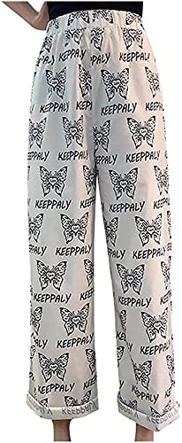 Ourjsncvns Wide Leg Straight Pants for Women Butterfly Print Loose Elastic Waist Pant, Ladies Full-Length Casual Pants