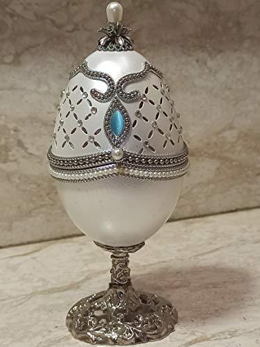 Caja de joyería para mujer, diseño de huevo ruso, hecho a mano, de Fabergé, decoración para el hogar, adorno de diamantes de Swarovski, 43 quilates, 500 gemas de mano