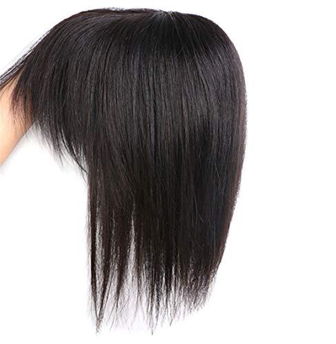 Susanki Clip in veri capelli umani Crown Toppers con frangia per donne con diradamento e capelli grigi, 30,5 cm, nero