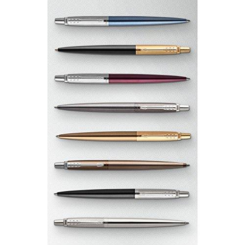 Parker Jotter Ballpoint Pen | Stainless Steel with Chrome Trim | Medium Point Blue Ink | Gift Box