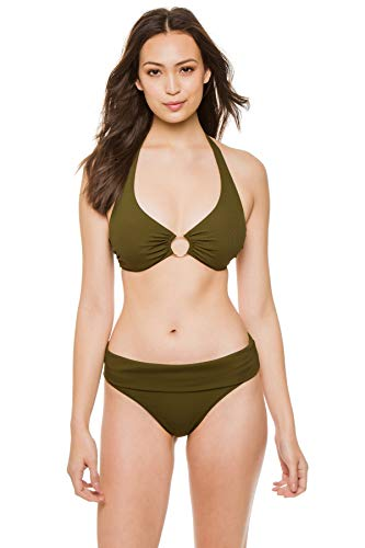 Melissa Odabash Women's Brussels Ribbed Ring Halter Bikini Top Olive Ribbed 4