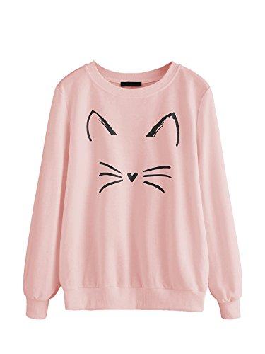 Romwe Women's Cat Print Lightweight Sweatshirt Long Sleeve Casual Pullover Shirt (Medium, Pink)