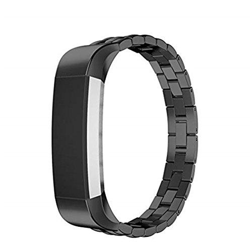SUNEVEN Metall-Armband für Fitbit Alta und Alta HR, klassisches Ersatzband aus Edelstahl für Fitbit Alta/HR Active Tracker, Schwarz