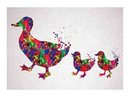 CustomIslandGifts Abstracte muurschildering met waterverf, eendenfamilie
