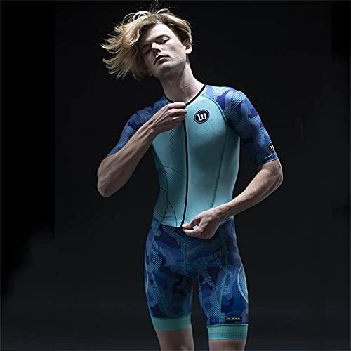 Body Triathlon Uomo Ironman Manica Corta Ciclismo Abbigliamento Costume Sportivo per Correre