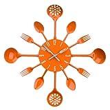 Premier Housewares - Reloj de pared, diseño de cubiertos, color naranja