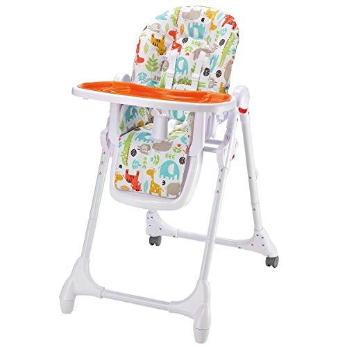Set Babyhochstuhl mit Stoffwindel von Kinderhaus Blaubär | 4in1 mitwachsend mit Liegefunktion | Kinderhochstuhl Tisch mit abnehmbarem Tablett | Hochstuhl klappbar, Design:Animals orange