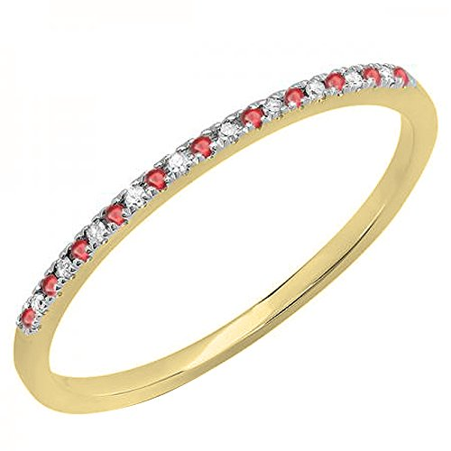 Dazzlingrock Collection 10K Round Ruby & White Diamond Ladies Dainty Anniversary Stackable Band, Yellow Gold, Size 6