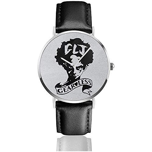 Megalo Box Gearless Joe Uhren Quarz Lederuhr mit schwarzem Lederband für Sammlungsgeschenk