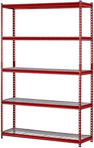 Muscle Rack UR184872-R - Estantería de acero de 5 estantes, 48.0in de ancho x 71.7in de alto x 17.7in de largo, color rojo (paquete de 1)