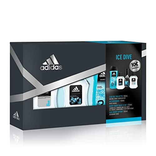 adidas Ice Dive Set Hombre Cuádruplo Edt 100 + Deo 150 + Gel 250 + As 100