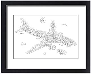 Media Storehouse Framed 20x16 Print of Airbus A320 Cutaway Drawing (4499470)