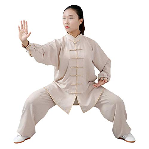 Tai Chi Kung-Fu Taiji Tang Suit Ropa De Tai Chi Ropa De Ejercicio Matutino Ropa De Kung Fu Ropa De Artes Marciales Algodón Lino - (Ropa Y Pantalones),Khaki-XS