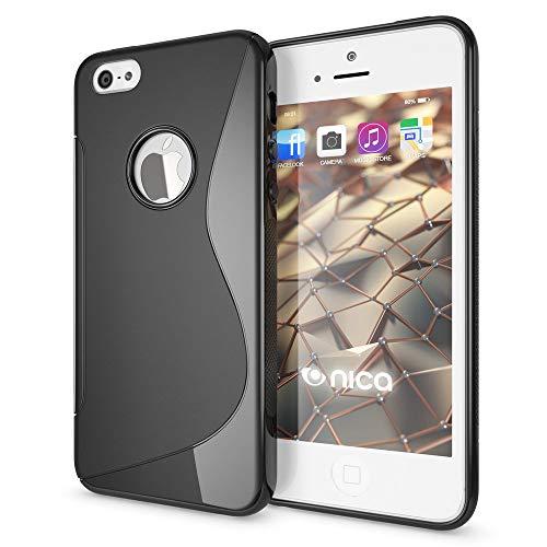 NALIA Custodia compatibile con Apple i SE 5 5S Plus, Cover Protezione Ultra-Slim Case Resistente Protettiva Cellulare Silicone Gel, Gomma Morbido Bumper Copertura Sottile - S-Line Nero