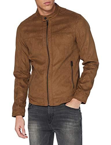 JACK & JONES Herren JJEWARNER Jacket NOOS Kunstlederjacke, Cognac, S