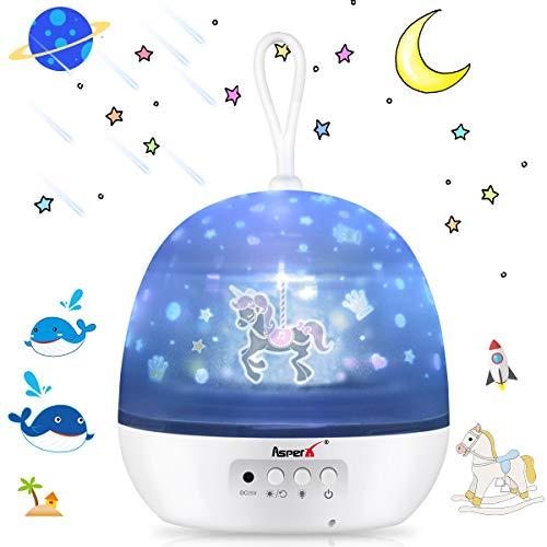 [Aggiornamento] Proiettore per Bambini, AsperX 4 in 1 Lampada Proiettore Oceano & Stella Proiettore Lampada, 8 modalità di colore Luce notturna per la decorazione della camera da letto dei bambini