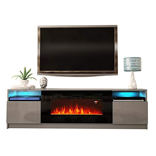 MEBLE FURNITURE & RUGS York 02 Electric Fireplace Modern 79' TV Stand (Gray)