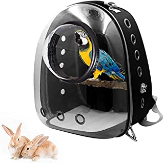 Bird Carrier Backpack Pet Parrot Carry Bag Travel Bag Transparent Breathable Space Capsule Backpack 360°Sightseeing with S...