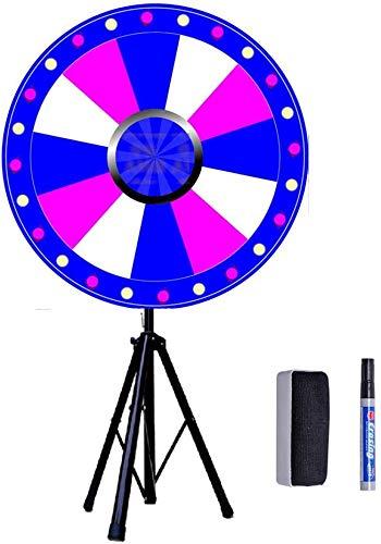 Rueda de la suerte de 24 pulgadas, juego de ruedas de 60 cm de diámetro, color Fortune Prize Wheel Folding trípode soporte de suelo spinning Game Carnival, rueda de prize ruleta juego para fiestas