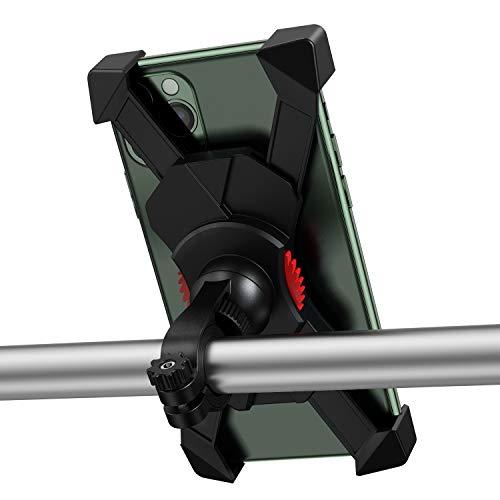 自転車 スマホ ホルダー スタンド オートバイ 振れ止め 脱落防止 強力な保護 バイク用 すまほ ホルダー ロードバイク スマホ固定 携帯 固定用 防水 適用多機種対応 角度調整 360度回転 脱着簡単 iPhone 11 11Pro Max X XS Max 8 7 6S 6plus Sony Xperia Nexus android 3.5-6.5インチ 多機種対応(ブラック)