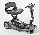 EV Rider Award Winning Transport AF+ Auto Folding Scooter - Newly Updated w/4 Wheels, Remote and 11.5 Battery - Ultralight Compact Long Range - Silver