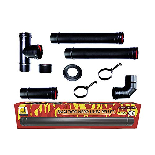 Kit stufa a pellet tubi 80 mm. tubo acciaio nero smaltato resistenti 600 ° CE Made in Italy canna fumaria porcellanata.