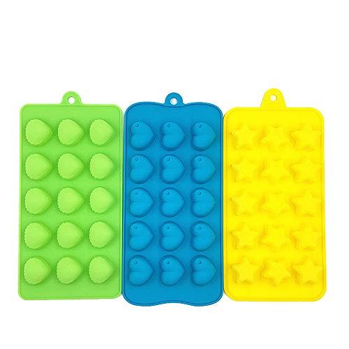 Eiswürfelbehälter Kreative Eiswürfelschalen 3er-Packung, Silikon und flexible 15er-Eisschalen, stapelbar, langlebig, einfach mit Wasser abspülen (grün, blau, gelb) für Gefrierschrank, Wasser, Whisky,