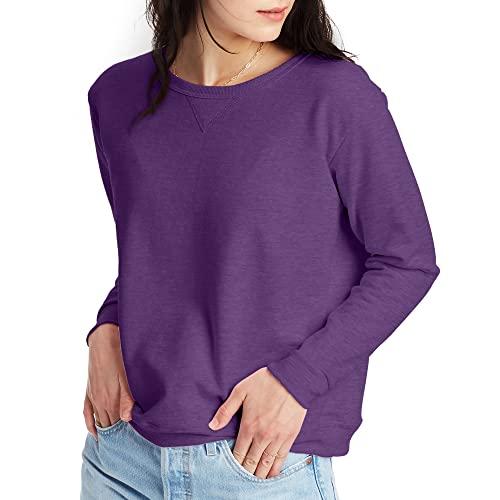 Hanes Women's EcoSmart Crewneck Sweatshirt, Violet Splendor Heather, Small
