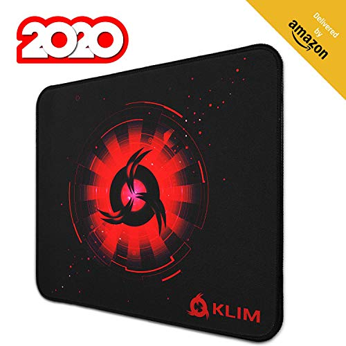 KLIM Mousepad M - Superficie Estesa - Tappetino per Mouse da Gaming Medium - Base in Gomma Antiscivolo - Superficie Testurizzata ad Alta Precisione - 320 x 270 x 4 mm - Rosso