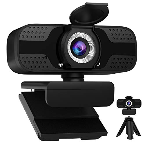 Webcam with Microphone for Desktop, 1080P HD USB Computer Cameras with Tripod, Flexible Rotable Wide...