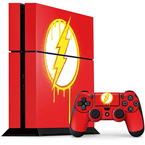 Skinit Decal Gaming Skin Compatible with PS4 Console and Controller Bundle - Officially Licensed Warner Bros Flash Emblem Drip Design