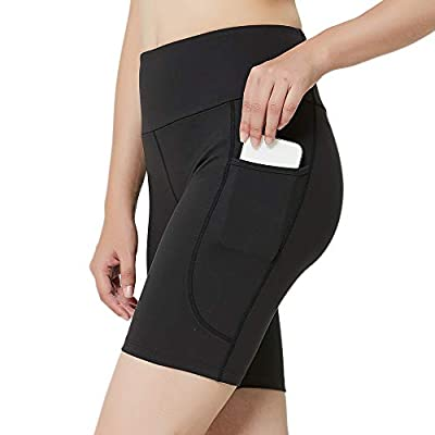 Inno Buttery Soft Women's High Waist Workout Yoga Biker Compression Short with Side Pockets,Tummy-Control and 4 Way-Stretch,Running Exercise Shorts for Gym Black