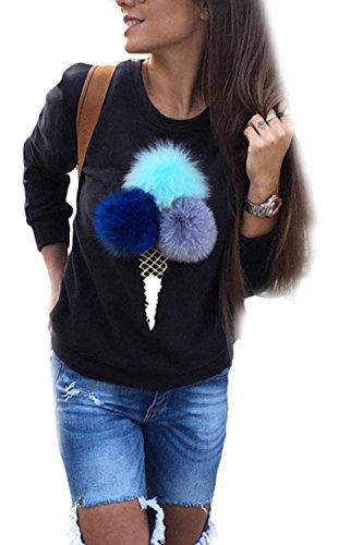 Vemubapis Women 3D Ice Cream Sweater Sweatshirt T Shirt The Decorations Detachable Black M