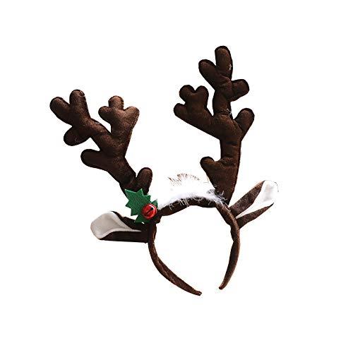 2 Pieces Xmas Hair Hoops Christmas Reindeer Animal Antler Ear Hair For Christmas Easter Headwear Celebration Costume Cosplay Accessory (Dark Brown, Light Brown)
