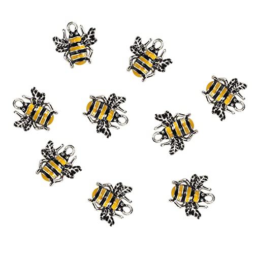 10 Uds colgantes de aleación, adorno colgante de gota con forma de abeja de goteo de aceite para accesorios de fabricación de joyería DIY