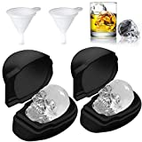 "3D Skull Ice Cube Molds - 2 Pack Silicone Ice Cube Tray with Funnels, 3"" Giant Big Ice Molds for Whiskey, Beer, Cocktails, Bourbon, Chocolate, Ice Cube Maker for Halloween Party Favors"