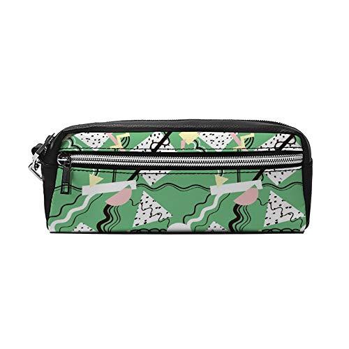 Green Abstract Schilderij Geometrische PU Lederen Potlood Case Make-up Bag Cosmetische Tas Potlood Pouch met Rits Reizen Toilettas voor Vrouwen Meisjes