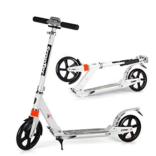 Sale!! Scooter Kick White Adult City, Portable Dual Shock-Absorbing Kick, Adjustable Handrail, PU Wh...