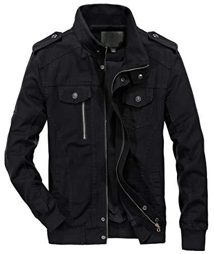 chouyatou Men's Casual Full-Zip Work Wear Military Cotton Lightweight Jacket Windbreaker (Medium, 22Black)