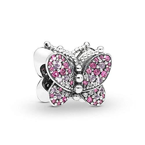 LILANG Pandora 925 Pulsera de joyería Natural se Adapta a Plata de Ley Deslumbrante Rosa Mariposa Encanto Cuentas de Metal para Mujeres Enteras Regalo DIY