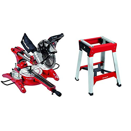 Einhell 4300825 Troncatrice Radiale, 2350 W + Einhell 4310620 Banchetto Universale E-Stand per Troncatrici, Rosso