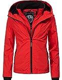 Marikoo Damen Übergangsjacke Outdoorjacke mit Kapuze Erdbeere Rot Gr. XL