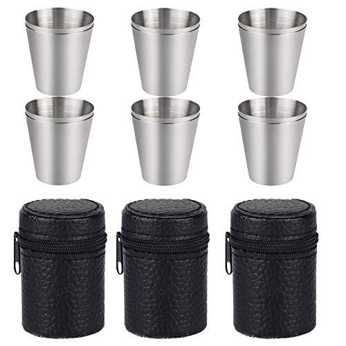 Guanici 12 Piezas 30ml Vaso Chupito Acero Inoxidable Vasos Camping Irrompibles Vasos de Chupito con Funda de Cuero Reutilizables Vasos de cerveza Vasos de Metal Camping para whisky tequila aguardiente